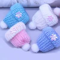 Mode Dekoration Blumen, Wolle, mit Kunststoff Pailletten, Hut, für Kinder, gemischte Farben, 35mm, 200PCs/Menge, verkauft von Menge