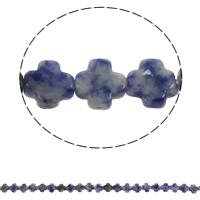 Blauer Tupfen Stein Perlen, blauer Punkt, Kreuz, natürlich, 8x4mm, Bohrung:ca. 1mm, ca. 50PCs/Strang, verkauft per ca. 16 ZollInch Strang