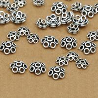 Bali Sterling Silber Perlenkappen, Thailand, Blume, verschiedene Größen vorhanden & hohl, Bohrung:ca. 1-3mm, verkauft von Menge
