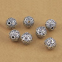 Bali Sterling Silber Perlen, Thailand, rund, hohl, 12mm, Bohrung:ca. 2.3mm, 10PCs/Menge, verkauft von Menge