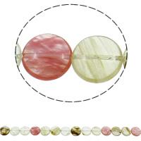 Wassermelone Glasperlen, flache Runde, natürlich, 16x6mm, Bohrung:ca. 1.5mm, ca. 25PCs/Strang, verkauft per ca. 14.9 ZollInch Strang