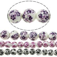 Kunstdruck Porzellan Perlen, rund, verschiedene Größen vorhanden & mit Blumenmuster, keine, Länge:ca. 13.5 ZollInch, verkauft von Menge