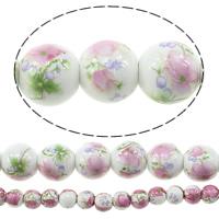 Kunstdruck Porzellan Perlen, rund, verschiedene Größen vorhanden & mit Blumenmuster, verkauft von Menge