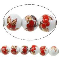 Kunstdruck Porzellan Perlen, rund, mit Blumenmuster, 8mm, Bohrung:ca. 2mm, Länge:ca. 12.5 ZollInch, 5SträngeStrang/Menge, ca. 42PCs/Strang, verkauft von Menge
