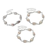 Messing Armband, mit Perlen, mit Verlängerungskettchen von 9cm, Tropfen, Platinfarbe platiniert, keine, frei von Nickel, Blei & Kadmium, 6-7mm, verkauft per ca. 6 ZollInch Strang