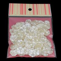 ABS-Kunststoff-Perlen Perlkappen, mit OPP, Blume, weiß, 16x4mm, Bohrung:ca. 1mm, 100PCs/Tasche, verkauft von Tasche
