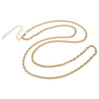 Eiserne Halskette Kette, Eisen, mit Verlängerungskettchen von 8cm, KC goldfarben plattiert, Seil-Kette, frei von Nickel, Blei & Kadmium, 3.5mm, verkauft per ca. 29.5 ZollInch Strang