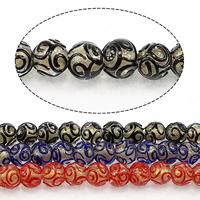Goldsand Lampwork Perlen, rund, keine, 13mm, Bohrung:ca. 2.5mm, Länge:ca. 13.5 ZollInch, 5SträngeStrang/Menge, ca. 30PCs/Strang, verkauft von Menge