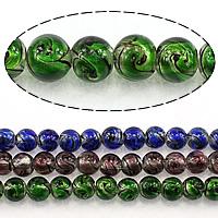 Goldsand Lampwork Perlen, rund, keine, 10mm, Bohrung:ca. 1.5mm, Länge:ca. 13 ZollInch, 3SträngeStrang/Menge, ca. 34PCs/Strang, verkauft von Menge