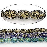 Goldsand Lampwork Perlen, oval, keine, 16x11mm, Bohrung:ca. 2.5mm, Länge:ca. 15 ZollInch, 5SträngeStrang/Menge, ca. 25PCs/Strang, verkauft von Menge
