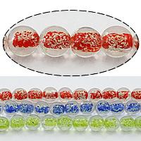 Goldsand & Silberfolie Lampwork Perlen, rund, Goldfolie und Siberfolie, keine, Bohrung:ca. 1.5mm, Länge:ca. 13.5 ZollInch, 5SträngeStrang/Menge, ca. 30PCs/Strang, verkauft von Menge