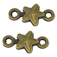Sterne Zink Legierung Verbinder, Zinklegierung, antike Bronzefarbe plattiert, 1/1-Schleife, frei von Nickel, Blei & Kadmium, 15x8x2.50mm, Bohrung:ca. 2mm, 500PCs/Menge, verkauft von Menge