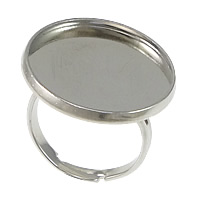 Messing Ringschiene, flache Runde, Platinfarbe platiniert, einstellbar, frei von Nickel, Blei & Kadmium, 22mm, Innendurchmesser:ca. 20mm, Größe:7, 100PCs/Menge, verkauft von Menge