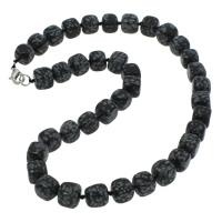 Schneeflocke Obsidian Halskette, Zinklegierung Karabinerverschluss, Würfel, natürlich, 9-12mm, verkauft per ca. 18 ZollInch Strang