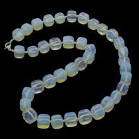 Meer Opal Halskette, Zinklegierung Karabinerverschluss, Würfel, 9-12mm, verkauft per ca. 19.5 ZollInch Strang