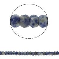 Blauer Tupfen Stein Perlen, blauer Punkt, Rondell, natürlich, facettierte, 8x5mm, Bohrung:ca. 1.5mm, ca. 75PCs/Strang, verkauft per ca. 15.7 ZollInch Strang