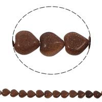 Goldstein Perlen, Goldsand, Herz, natürlich, 12x5mm, Bohrung:ca. 1.5mm, ca. 36PCs/Strang, verkauft per ca. 15.7 ZollInch Strang