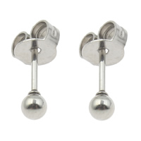 Edelstahl Ohrringe, rund, originale Farbe, 3mm, verkauft von Paar
