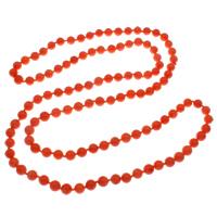 Coral Strickjacke-Kette Halskette, Natürliche Koralle, rund, rote Orange, 8mm, verkauft per ca. 39 ZollInch Strang