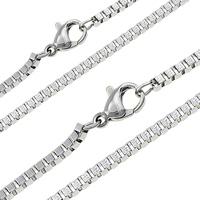 Halskette, Edelstahl, plattiert, verschiedene Größen vorhanden & Kastenkette, keine, verkauft per ca. 17.5 ZollInch Strang
