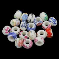 Kunstdruck Porzellan Perlen, gemischt & großes Loch, 9x13mm, Bohrung:ca. 5.5mm, 100PCs/Tasche, verkauft von Tasche