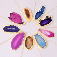 Streifen Achat Pullover Halskette, mit Eisen, goldfarben plattiert, natürliche, keine, 50-60mm, verkauft per ca. 23.5 ZollInch Strang
