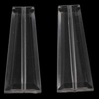 Transparente Acryl-Perlen, Acryl, Trapez, facettierte, 16x40x7mm, Bohrung:ca. 1mm, 2Taschen/Menge, ca. 155PCs/Tasche, verkauft von Menge
