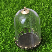 Glas Glassturz Anhänger, mit Zinklegierung, plattiert, klar, frei von Nickel, Blei & Kadmium, 30x20mm, Bohrung:ca. 2mm, 40PCs/Menge, verkauft von Menge