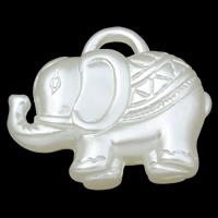 ABS-Kunststoff-Perlen Anhänger, Elephant, weiß, 35x29x10mm, Bohrung:ca. 5x2mm, 2Taschen/Menge, ca. 95PCs/Tasche, verkauft von Menge