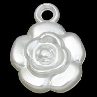 ABS-Kunststoff-Perlen Anhänger, Blume, weiß, 17x22x7mm, Bohrung:ca. 2mm, 2Taschen/Menge, ca. 500PCs/Tasche, verkauft von Menge