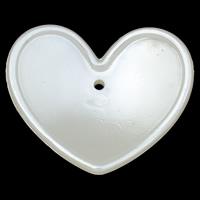 ABS-Kunststoff-Perlen Anhänger, Herz, weiß, 43x37x7mm, Bohrung:ca. 1.5mm, 2Taschen/Menge, ca. 135PCs/Tasche, verkauft von Menge