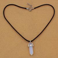 Meer Opal Halskette, mit Gewachste Hanfschnur & Messing, mit Verlängerungskettchen von 5cm, Pendel, 13x40x10mm, 3mm, Länge:ca. 17 ZollInch, 5SträngeStrang/Tasche, verkauft von Tasche