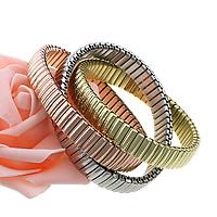 Edelstahl -Armband -Set,  , plattiert, elastisch, farbenfroh, 9mm, Länge:ca. 7 ZollInch, 5SetsSatz/Menge, 3PCs/setzen, verkauft von Menge