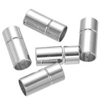 Messing Bajonettverschluss, Zylinder, Platinfarbe platiniert, frei von Nickel, Blei & Kadmium, 9x20mm, Bohrung:ca. 8mm, 100PCs/Menge, verkauft von Menge
