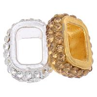 Mode Zinklegierung Gleiten Charme, mit Ton, Rechteck, plattiert, mit Strass, keine, frei von Nickel, Blei & Kadmium, 16x19x7mm, Bohrung:ca. 6x10mm, 10PCs/Tasche, verkauft von Tasche