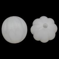 Gelee-Stil-Acryl-Perlen, Acryl, oval, gewellt & Gellee Stil, weiß, 23x23mm, Bohrung:ca. 3mm, 2Taschen/Menge, ca. 80PCs/Tasche, verkauft von Menge