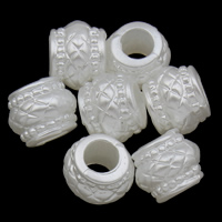 ABS-Kunststoff-Perlen Perle, Trommel, weiß, 10x8mm, Bohrung:ca. 4mm, 2Taschen/Menge, ca. 1660PCs/Tasche, verkauft von Menge