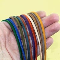 Rindsleder Schnur, Kuhhaut, gemischte Farben, 3x2mm, 10SträngeStrang/Tasche, 1m/Strang, verkauft von Tasche