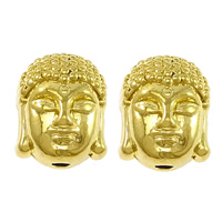 Buddhistische Perlen, Messing, Buddha, vergoldet, buddhistischer Schmuck & hochwertige Beschichtung und nie verblassen, frei von Nickel, Blei & Kadmium, 9x11x8mm, Bohrung:ca. 2mm, 50PCs/Menge, verkauft von Menge