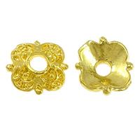 Messing Perlenkappe, Blume, vergoldet, hochwertige Beschichtung und nie verblassen, frei von Nickel, Blei & Kadmium, 7.50x7.50x1mm, Bohrung:ca. 2mm, 100PCs/Menge, verkauft von Menge