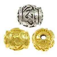 Buddhistische Perlen, Messing, oval, plattiert, buddhistischer Schmuck & om mani padme hum, keine, frei von Nickel, Blei & Kadmium, 13x11mm, Bohrung:ca. 2mm, 30PCs/Menge, verkauft von Menge