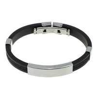 Herren-Armband & Bangle, Silikon, mit Edelstahl, schwarz, 39x10.5x6mm, 9x4mm, verkauft per ca. 8 ZollInch Strang