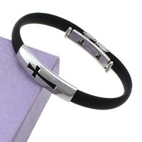 Herren-Armband & Bangle, Edelstahl, mit Silikon, Kreuz, schwarz, 8mm, 36x9.5x5mm, verkauft per ca. 7.5 ZollInch Strang