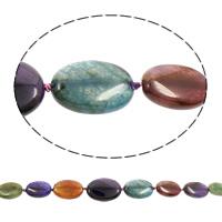 Natürliche Drachen Venen Achat Perlen, Drachenvenen Achat, flachoval, abgestufte Perlen, gemischte Farben, 15x20x7mm-30x40x7mm, Bohrung:ca. 2-2.5mm, Länge:ca. 19-20 ZollInch, 5SträngeStrang/Tasche, ca. 17PCs/Strang, verkauft von Tasche