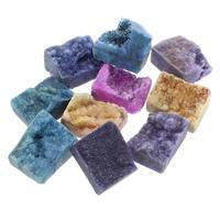 Eisquarz Achat Cabochon, Rechteck, natürlich, druzy Stil & flache Rückseite, gemischte Farben, 14x20x10mm-15x20x15mm, 30PCs/Tasche, verkauft von Tasche