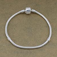 Europa Armband Kette, Messing, silberfarben plattiert, unterschiedliche Länge der Wahl, frei von Nickel, Blei & Kadmium, 4mm, 3mm, verkauft von Strang