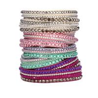 Slake Armband, PU Leder, Zinklegierung Druckknopf Verschluss, Platinfarbe platiniert, mit Nietstollen & mit Strass & 2 strängig, keine, frei von Nickel, Blei & Kadmium, verkauft per ca. 14 ZollInch Strang