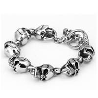 Herren-Armband & Bangle, Edelstahl, Schädel, für den Menschen & Schwärzen, 11mm, verkauft per ca. 9 ZollInch Strang