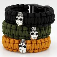 Nylonschnur Survival Armband, mit Kunststoff & Zinklegierung, Schädel, Platinfarbe platiniert, keine, frei von Nickel, Blei & Kadmium, 20mm, Länge:ca. 9.6 ZollInch, 10SträngeStrang/Menge, verkauft von Menge