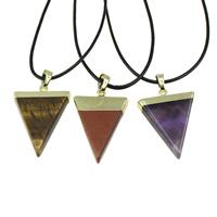 Edelstein Schmuck Halskette, mit PU Leder & Messing, mit Verlängerungskettchen von 2lnch, Dreieck, plattiert, natürliche & verschiedenen Materialien für die Wahl, frei von Nickel, Blei & Kadmium, 22-25x32-35x5mm, verkauft per ca. 17 ZollInch Strang
